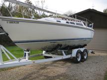 Catalina sailboat in need of bottom paint repair