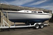 Catalina sailboat with new bottom paint