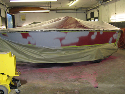Aluminum boat prepping for new paint