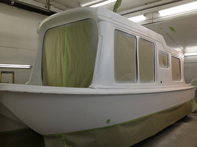 Houseboat masked off and ready for custom paint