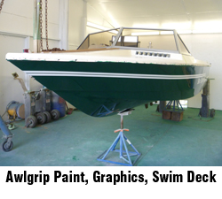 Awlgrip paint, replace graphics, swim deck